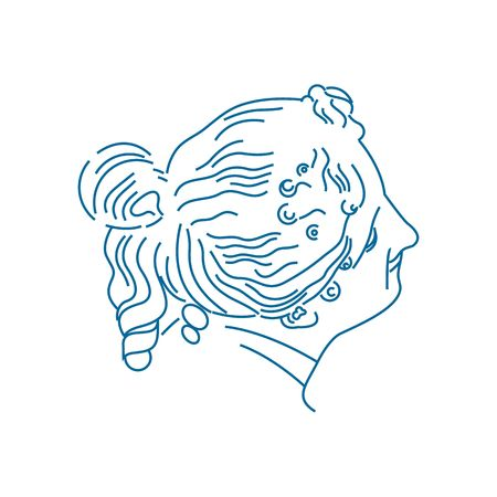 muse: Beautiful portrait of goddess aegle vector illustration isolated on white background.