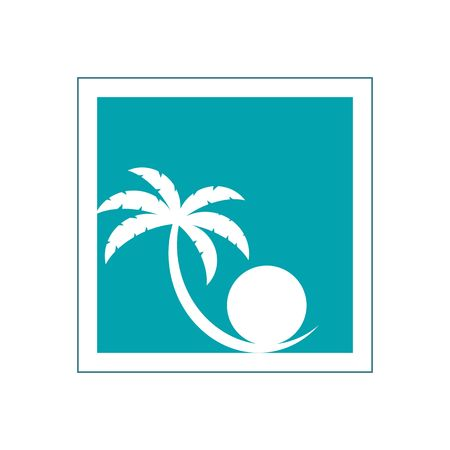 perl: Stylized palm tree and perl inside blue frame vector illustration isolated on white backgorund.