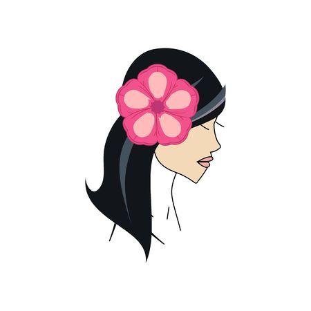 白い背景で隔離の髪ベクトル図に花の美しいハワイアン女の子。