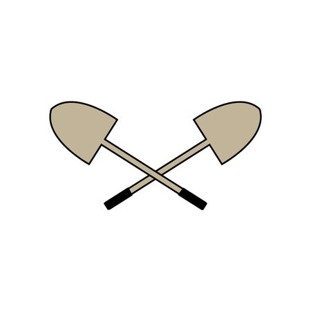 black grip: Two shovels with black black grip vector illustration isolated on white background.