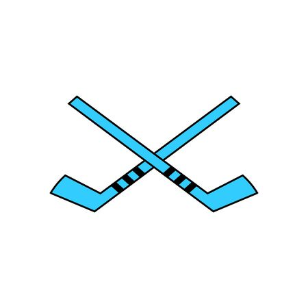wintersport: Two blue hockey stick vector illustration isolated on white background. Illustration