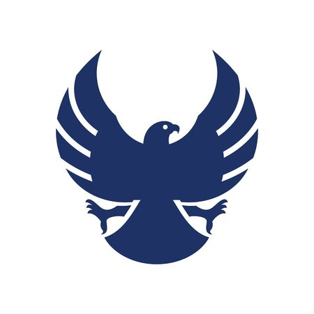 Blue eagle with opened wings silhouette vector illustration isolated on white background.
