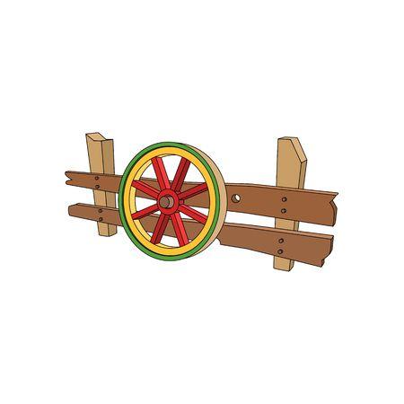cartwheel: 3D cartoon style wooden carts wheel vector illustration isolated on white background.