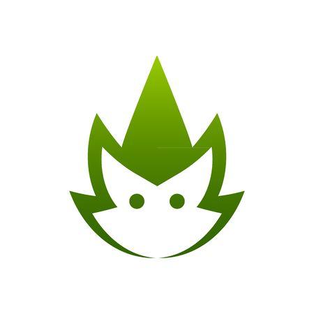 troll dolls: Green cartoon style cute troll head mascot vector illustration isolated on white background.
