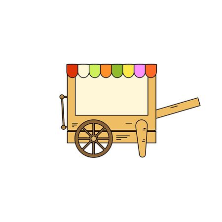vitrine: Cartoon style colorful mobile stall vector illustration isolated on white background. Illustration