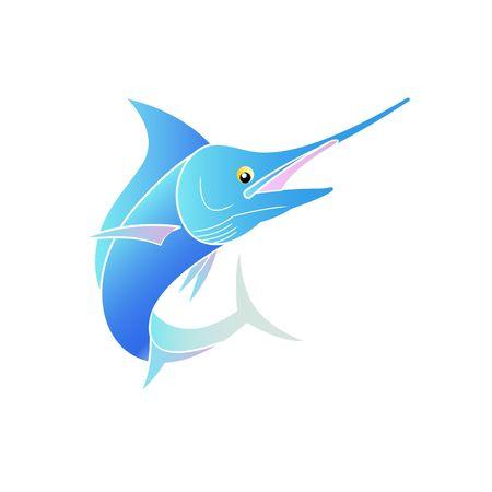 billfish: Beautiful cute cartoon style stylized blue colorful swordfish vector illustration isolated on white background. Illustration