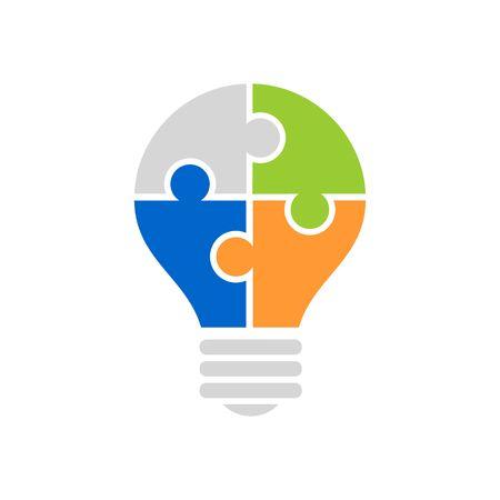 Jigsaw puzzle light bulb icon vector illustration isolated on white backgorund. Illustration