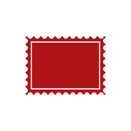 post stamp: Red post stamp icon vector illustration isolated on white backgorund.