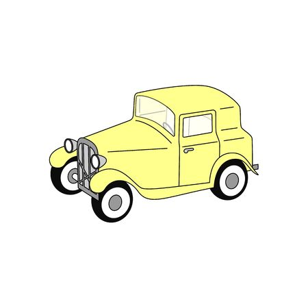 old timer: 3D yellow old timer fictional vector illustration isolated on white background.
