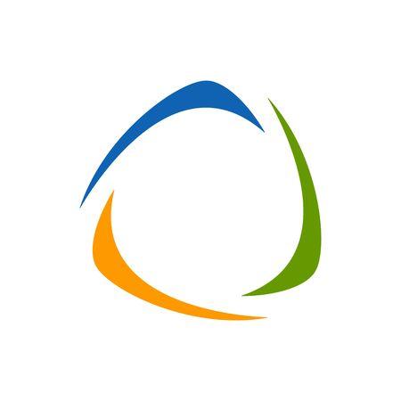 returning: Stylized blue green and orange boomerang logo vector illustration isolated on white background.