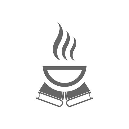 wiki: Cup of hot coffe and two books vector illustration isolated on white background. Illustration