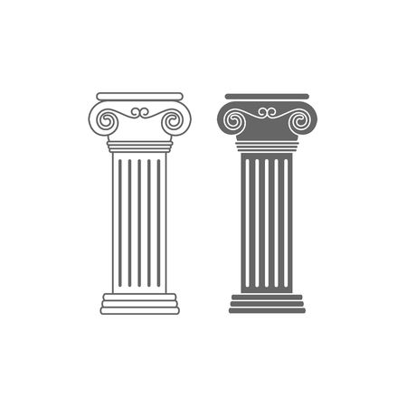 ionic: Two line drawing ionic columns vector illustration isolated on white background.