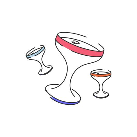 uncork: Stylized line drawing colorful celebration glasses vector illustration isolated on white background.