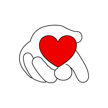 fondness: Stylized line drawing hand holding heart vector illustration isolated on white background.