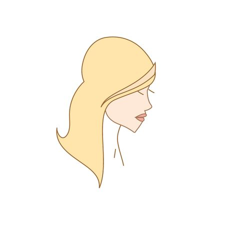 lady silhouette: Beautiful line drawing lady with long hair silhouette vector illustration isolated on white backgorund.