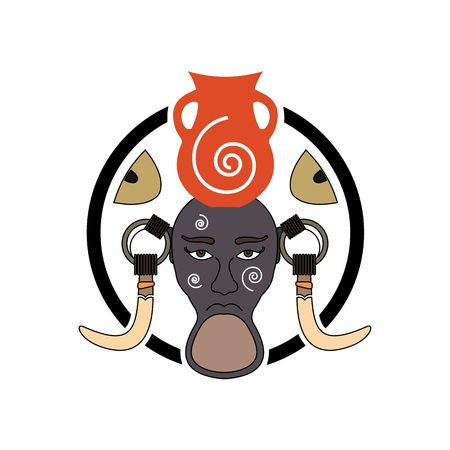 Mursi tribe sign with decorative elements inside circle vector illustration isolated on white background.