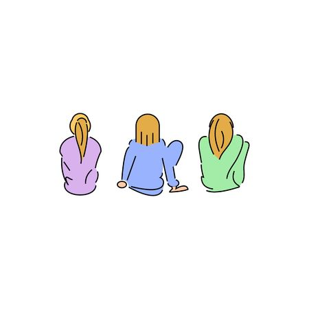 converse: Three line drawing colorful girls vector illustration isolated on white background Illustration