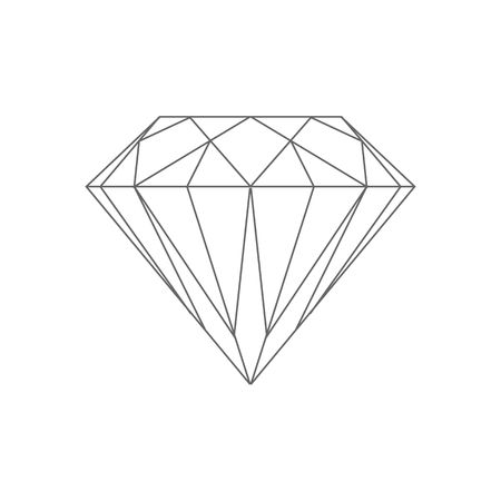 Beautiful line drawing diamond vector illustration isolated on white backgorund.
