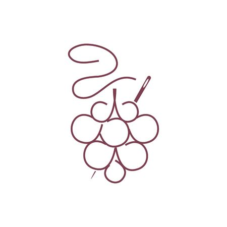 purple grapes: Abstract line drawing purple tailor logo like grapes with a needle vector illustration isolated on white background. Illustration