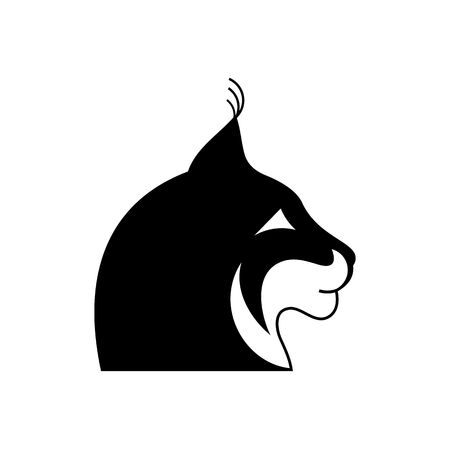 Stylized black and white lynx head tattoo vector illustration isolated on white background. Vector Illustration