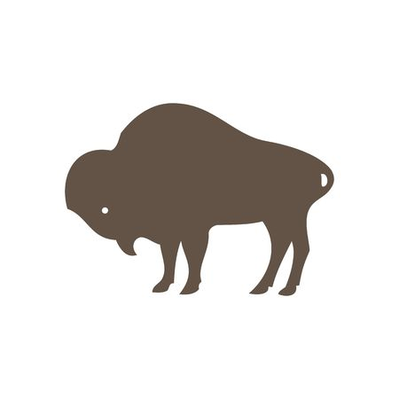 Buffalo silhouette vector illustration isolated on white background. 矢量图像