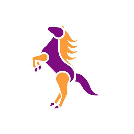 paddock: Beautiful purple and orange horse on two legs silhouette vector illustration isolated on white background. Illustration