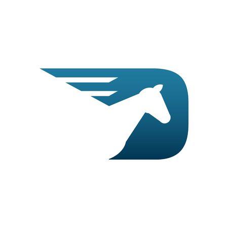paddock: Beautiful blue horse racing logo vector illustration isolated on white backgorund.