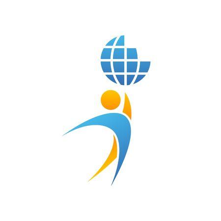 Globo hombre insignia manos arriba planeta juntos, el éxito logro idea creativa, salvo emblema de la Tierra ilustración vectorial maqueta aislado en el fondo blanco