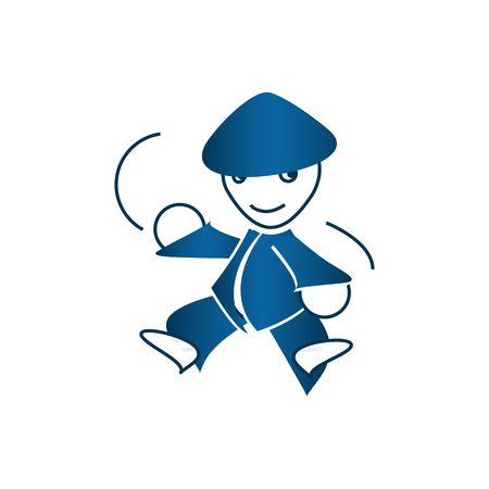 period costume: Cute cartoon style blue ninja mascot vector illustration isolated on white background.