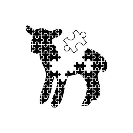 enigma: Cute black and white puzzle like lamb slhouette vector illustration isolated on white background. Illustration