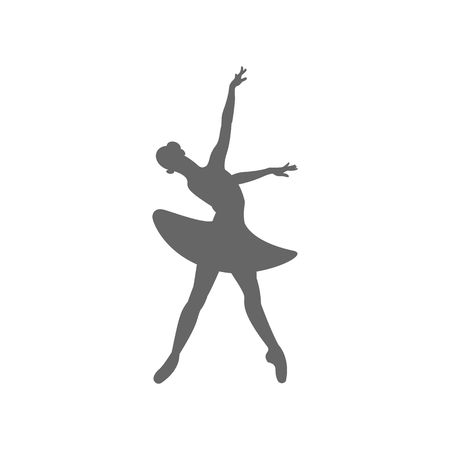 ballerina silhouette: Beautiful dancing ballerina silhouette vector illustration isolated on white background.