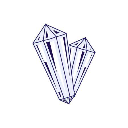 crystalline: Beautiful ice blue crystal vector illustration isolated on white background.