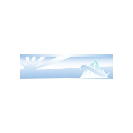 mountainside: Winter background with mountains stylized with line and sun over horizon vector illustration isolated on white backgorund.