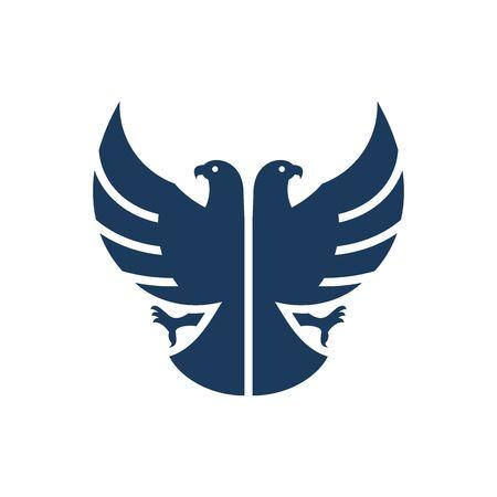 ilustración vectorial Azul de doble cabeza de águila silueta aislados sobre fondo blanco. Ilustración de vector