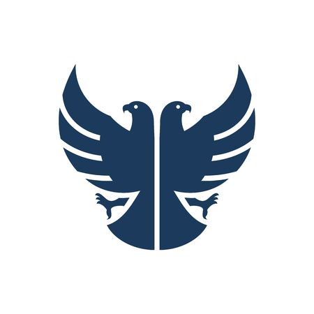 Blue double headed eagle silhouette vector illustration isolated on white background.