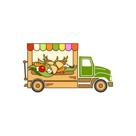 street vendor: Beautiful cartoon style food truck vector illustration isolated on white background.