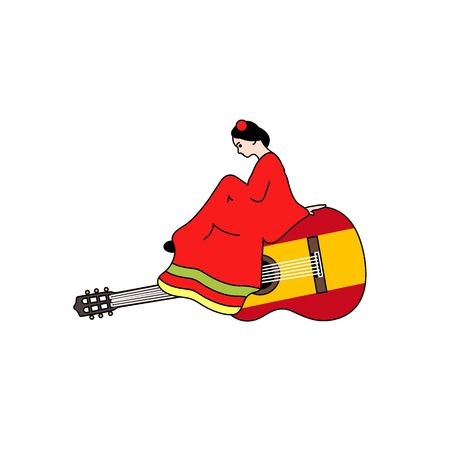 spanish fan: Beautiful stylized girl in red dress sitting on spanish guitar vector illustration isolated on white background. Illustration
