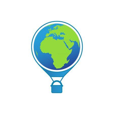 air baloon: Travel around the world air baloon world globe like logo vector illustration isolated on white background.