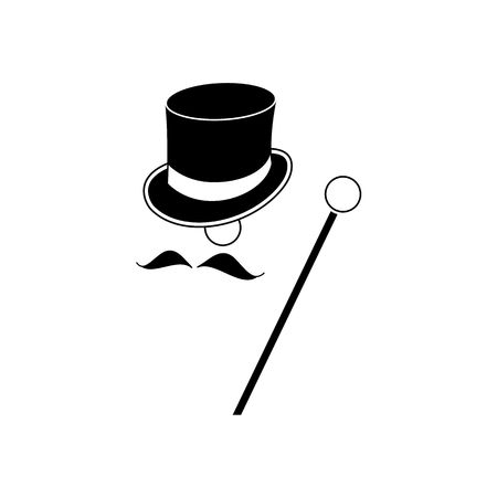 mister: Black baron mister with heat  mustache and stick vector illustration isolated on white background.
