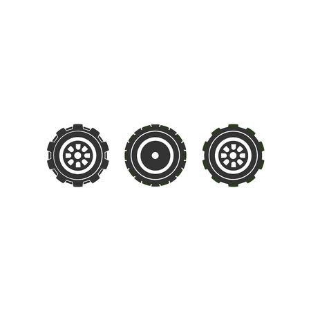 skid: Three type of wheels tire collection illustration isolated on white background.