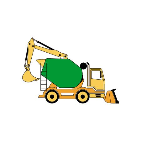 tractor warning: Line drawing construction machine illustration isolated on white background.