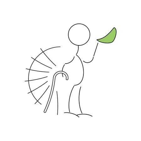 rheumatism: Cartoon style line drawing of old man with a walking stick  illustration isolated on white background.