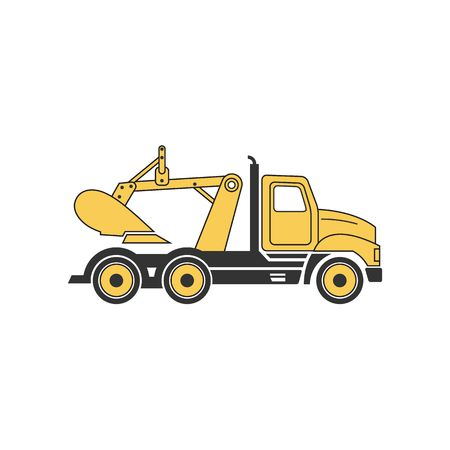 digging: Line drawing yellow digging truck illustration isolated on white background.