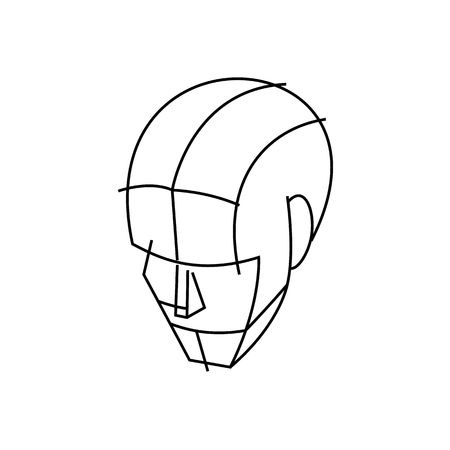 delineation: Line drawing wire head illustration isolated on white background.