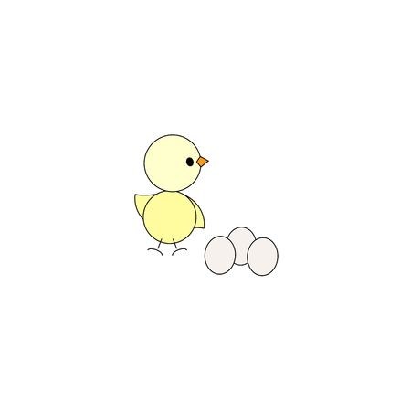 Cute chicken with eggs isolated on a white background. 矢量图像