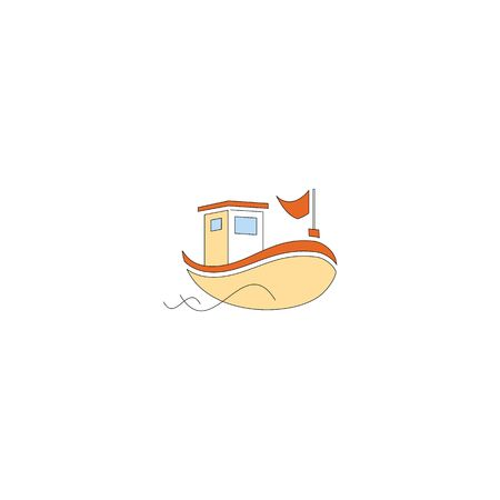 Bautiful cartoon style fishing boat isolated on a white backgorund. 矢量图像