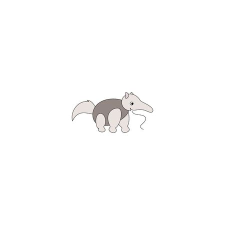 Cartoon style grey antbear isolated on a white background.