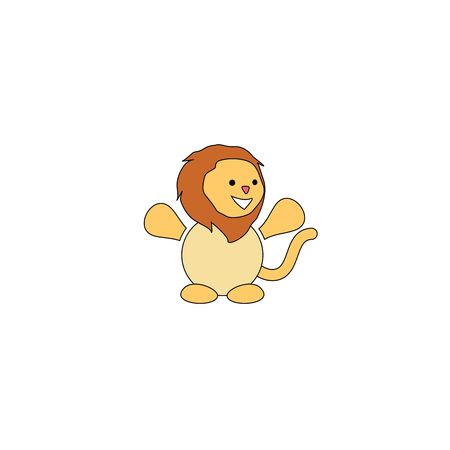 Cartoon style lion mascot isolated on a white background.