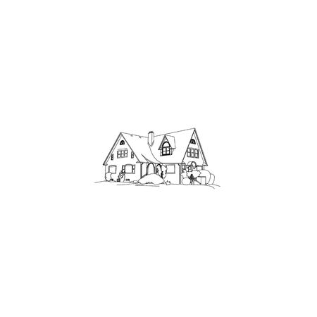 Luxury house drawing isolated on a white background.