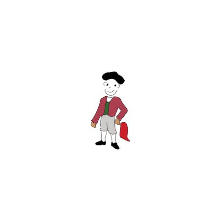Cartoon style matador isolated on a white background. 矢量图像